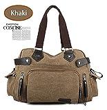 Fashion Retro Canvas Travel Bag Men Crossbody Shoulder Luggage Bag Khaki