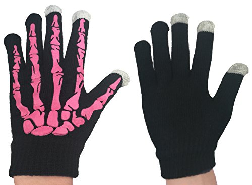 Unisex Skeleton Gloves Touchscreen Knit Gloves (One Size, Touch Screen & NON Fluorescence Black/Pink) -