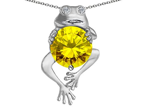 Citrine Frog - Star K Good Luck Frog Holding Round 10mm Simulated Citrine Pendant Necklace Sterling Silver