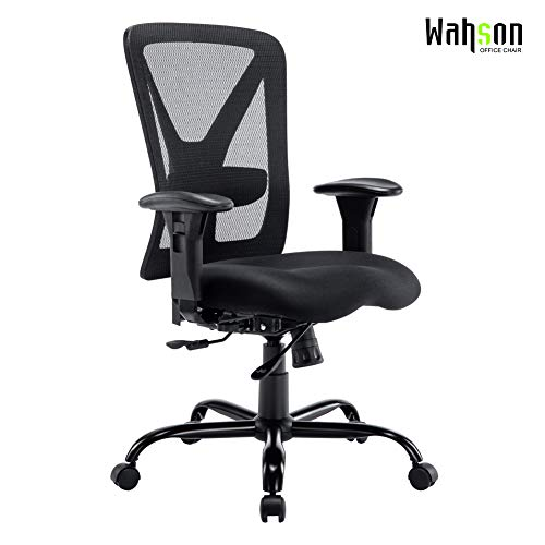 Big and Tall Office Chair, 400 LBS, Recline Mesh Mid-Back Task Chair for Large Person, 400 LBS (Black)