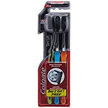 Colgate Slim Soft Charcoal Toothbrush (Pack of 3) Ultra Soft