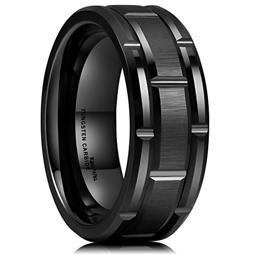 King Will Classic Mens 8mm Black Plated Tungsten Carbide Wedding Band Brick Pattern Brushed Finish