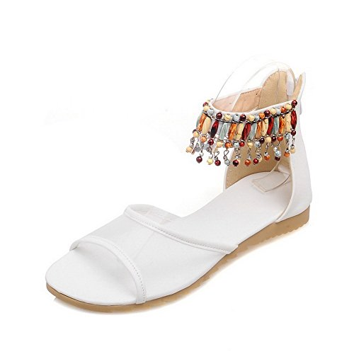 Sandali Open Toe Con Cerniera In Pelle Bianca Amoonyfashion