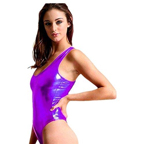 Disco Barbie Costume (iEFiEL Womens Metallic One Piece Bodysuit Swim Leotard Dance Blouse Top Purple One)