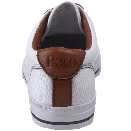 Polo Ralph Lauren Mens Vaughn Tela / Pelle Stringate Casual Bianco