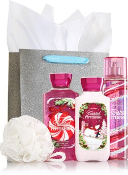 Bath & Body Works TWISTED PEPPERMINT The Daily Trio Gift Set Full Size - Body Lotion - Shower Gel and Fragrance Mist (Bath Peppermint Set)