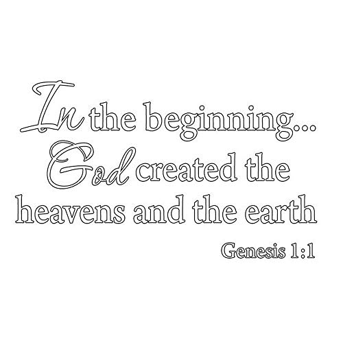 ynisan Vinyl Wall Decal Wall Stickers Art Decor Peel and Stick Mural Removable Decals in The Beginning God Created The Heavens and The Eh Genesis 1:1 Bible for Living Room Bedroom