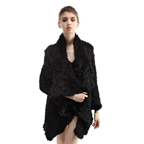 OLLEBOBO Women's Genuine Rabbit Fur Knitted Jacket with Collar Black by OLLEBOBO