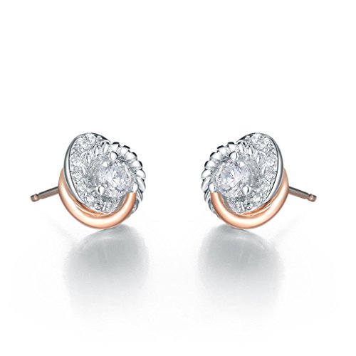 Gold Plated Knot Earrings (SILVERAGE Rose Gold Plated Sterling Silver Zirconia Two-Tone Love Knot Stud)