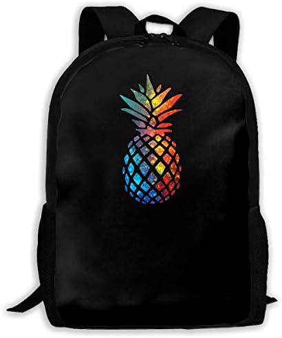Travel Knapsack,Men Women Camping Backpack,College Rucksack,School Laptop Bag,Waterproof Shoulder Backbag,Pineapple