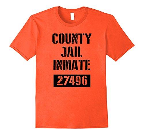 Mens County Jail Inmate Prisoner Costume T-Shirt XL Orange