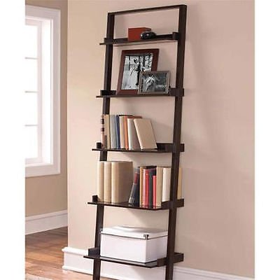 Ladder 5-Shelf Storage Rack Espresso Bookcase Wood Leaning Tier Bookshelf - Medium Walnut Oak Bookcase