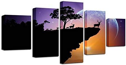 ホームデコレーションウォールアートキャンバスポスター5パネル動物鹿風景リビングルームプリント写真絵画-30x40 30x60 30x80cm枠なし