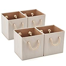 Set of 4 EZOWare Foldable Bamboo Fabric Storage Bins with Cotton Rope Handle, Collapsible Resistant Basket Box Organizer for Shelves, Closet, and More – (10.5 x 10.5 x11 inch) (Beige)