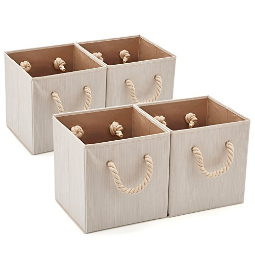 Set of 4 EZOWare Foldable Bamboo Fabric Storage Bin with Cotton Rope Handle, Collapsible Water Resistant Basket Box Organizer for Shelves, Closet, and More – Beige (10.5x11x10.5 ()