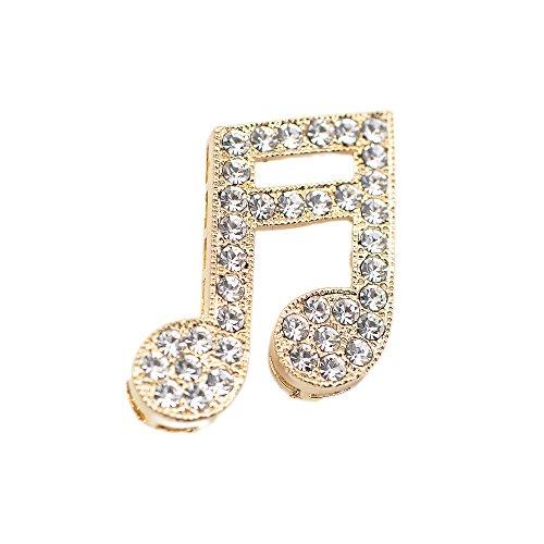 SpinningDaisy Tiny Jewel Crystal Music Sixteenth Note Brooch Pin Gold by SpinningDaisy