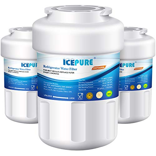 ICEPURE MWF Refrigerator Water filter Compatible with GE MWF, MWFP, MWFA, SmartWater, GWF, HDX FMG-1, GSE25GSHECSS, Kenmore 9991, 197D6321P006, RWF0600A 3 PACK