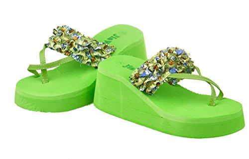V-SOL Mujer Maxi Chanclas Cuña Alta Flip Flops Playa Verde