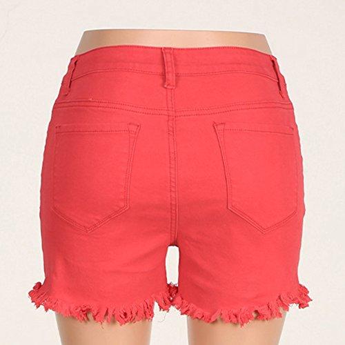 Shorts De Mezclilla Mujeres Cintura Alta Color Puro Elasticidad Corto Vaqueros Rojo