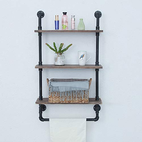 Industrial Bathroom Shelves Wall Mounted 3 Tiered,Rustic 24in Pipe Shelving Wood Shelf With Towel Bar,Black Farmhouse Towel Rack,Metal Floating Shelves Towel Holder,Iron Distressed Shelf Over Toilet by GWH (Image #1)