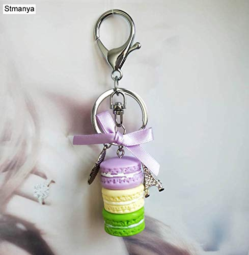 Key Chain Womens Women Cake Key Chain Fashion Nice Cute France Cake Macarons Keychain Bag Charm car Key Ring Wedding Party Gift Jewelry by ptk12