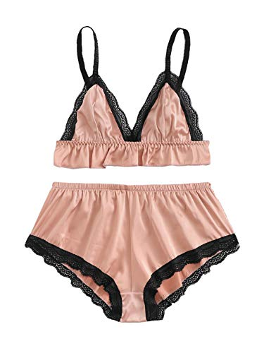 DIDK Women's Sexy Satin Underwear Lingerie Bralette and Panty Set Pink M
