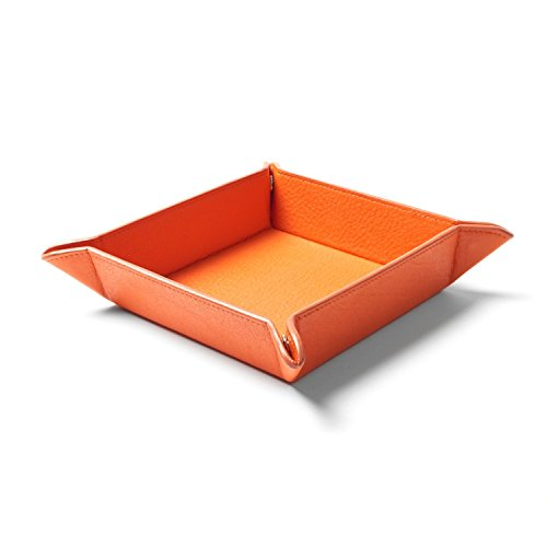 5 Travel Valet Tray - Chris-Wang Faux Leather Coin Valet Tray Bedside Storage Tray Box with 4 Snaps for Jewelry/Key/Cell Phone/Wallet/Watches ect(Orange)
