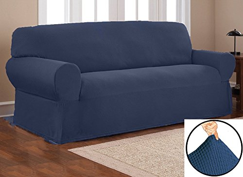 Orly's Dream Heavy Duty Stretch Form Fit Pique Fabric Sofa Slipcover Set, 2 Pc Set Includes Sofa and Love Seat Covers, Solid Color. (Navy Blue) ()