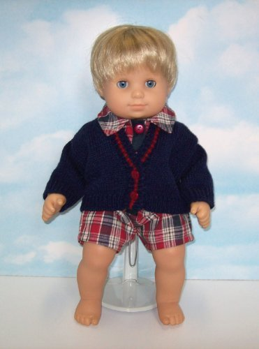 Red and Blue Plaid Romper with Cardigan Sweater. Fits 15