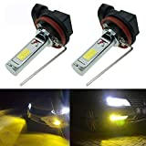 Calais Extremely Bright H8 LED Fog lights 2000 lumens High Power COB Chips LED H8 3000K Yellow LED Fog Lights Lamp Bulbs Replacement (Set of 2)