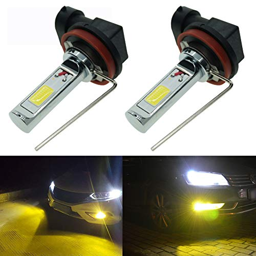 Calais Extremely Bright H11 LED Fog lights 2000 lumens High Power COB Chips LED H11 3000K Yellow LED Fog Lights Lamp Bulbs Replacement (Set of 2) ()