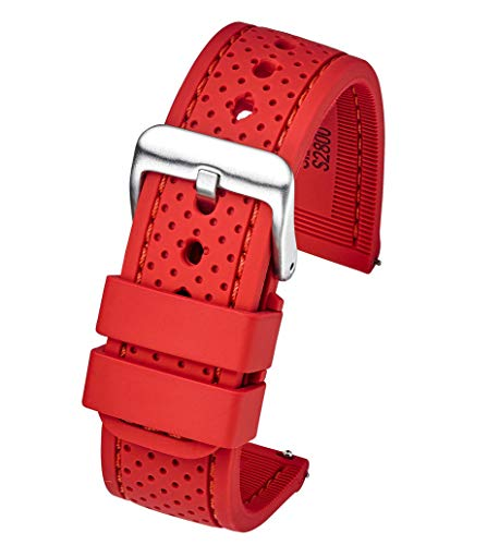(Premium Quality Waterproof Silicone Watch Band Strap with Quick Release - Soft Rubber red Watch Band 24mm)