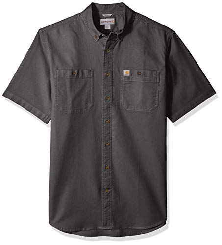 Carhartt Men's Big and Tall Big & Tall Rugged Flex Rigby Short Sleeve Work Shirt, 039-Gravel, Large Carhartt Button Down Work Shirt