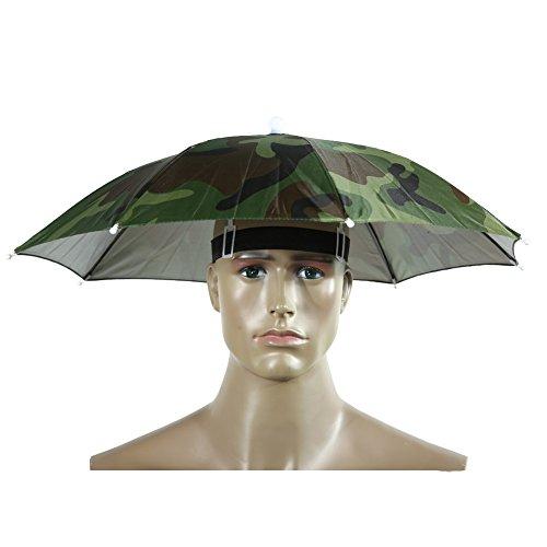 Demiawaking Sombrero Sombrilla Elástico Paraguas de Cabeza para Golf Pesca Campamento (Camuflaje): Amazon.es: Deportes y aire libre