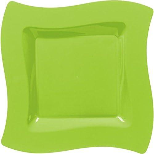 Amscan 69920.53 Square Paper Tableware Plastic Plates 10 Green