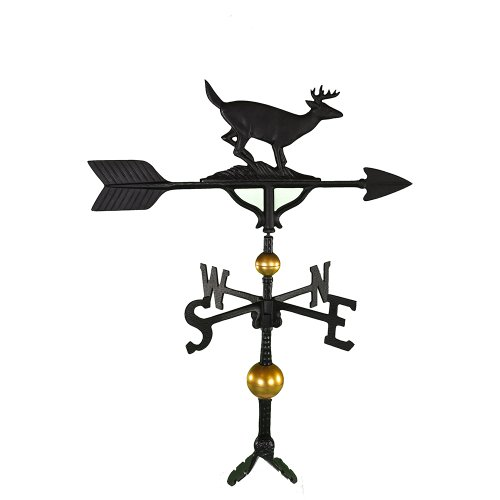 Montague Metal Products 32-Inch Deluxe Weathervane with Satin Black Buck Ornament