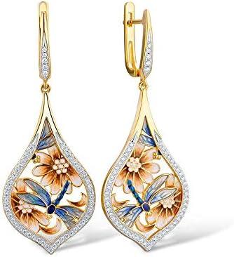 N/N® Ohrringe Für Frauen 925 Silber Blume Blau Libelle Handgemachte Emaille Für Mädchen Anti-Allergie-Schmuck