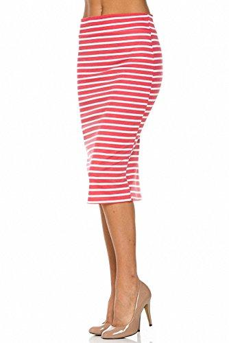 Sassy Apparel Women's Elastic Below Knee Stripes Design Pencil Skirt (Xtra Large, Coral)