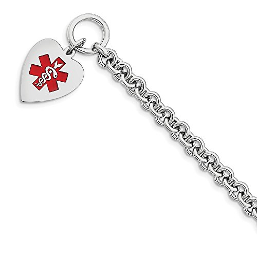 Polished Engravable Toggle Closure Engraveable Enamel Heart Medical ID Bracelet - 7.75 Inch - Toggle (Id Medical Toggle Heart Bracelet)