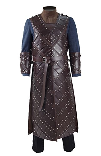 Hot TV Series Knight Snow Costume Leather Armor Deluxe Men Halloween Costume (US Men-XL, (Con Man Halloween Costume)