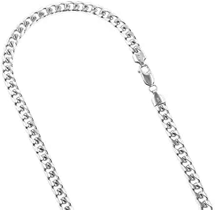 14k White or Yellow Gold Miami Cuban Link Solid Chain Necklace with Lobster Claw Clasp 6mm Wide