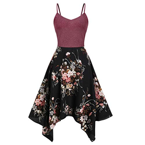 TUSANG Womens Skirt Plus Size Fashion Floral Print Asymmetric Camis Handkerchief Dress Slim Fit Comfy Dress(Red,Red)