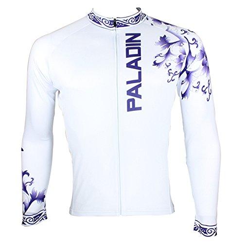 Xinzechen Men's Cycling Jersey Long Sleeve Blue White Porcelain Size L