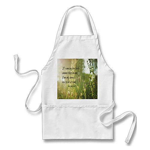 Starings Kitchen Apron Louisa May Alcott Lovely Apron for Men Women with Pockets, White
