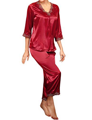 Sleeve 2 Piece Pajamas - LAPAYA Women's Satin Pajama Sets 3/4 Sleeve V Neck Lace Trim Two Piece Sleepwear, Wine Red, Tag size XL=US size M