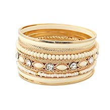 Mrsrui Bohemian Multilayer Mix Color Wrap Crystal Beaded Bangle Bracelet Ethnic Handmade