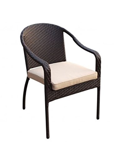 Jeco W00501R-G-FS006 5 Piece Cafe Curved Back Chairs and Folding Wicker Table, Espresso by Jeco (Image #2)