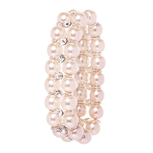 Veenajo Beautiful 2 Rows Simulated Pearl Rhinestone Decor Elastic Stretch Bracelet for Women(beige) (Pearl Of Elastic Bracelet Mother)