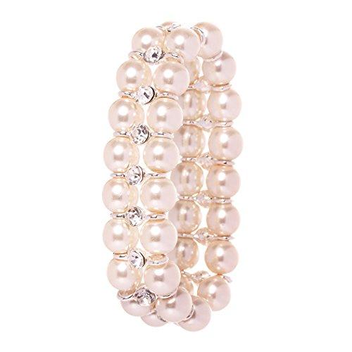 Veenajo Beautiful 2 Rows Simulated Pearl Rhinestone Decor Elastic Stretch Bracelet for Women(beige) (Pearl Of Mother Bracelet Elastic)