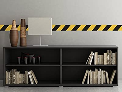 """Caution Tape Border Fabric Wall Decal - Set Of Two 25"""" x 4"""" Sections - Construction Theme - Non-Toxic, Reusable, Repositionable"""